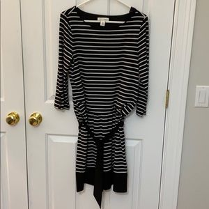 Cute black and white belted bouson dress